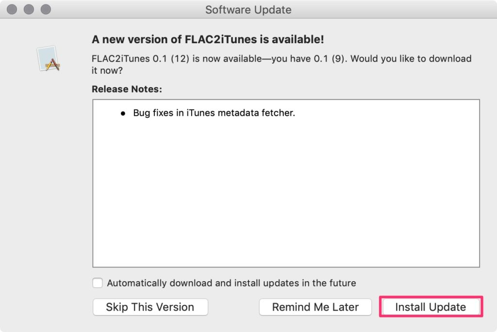 flac2iTunes アップデート